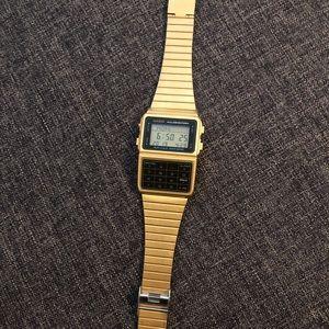 Casio #DBC611G-1D Gold 25 Memory Calculator Watch